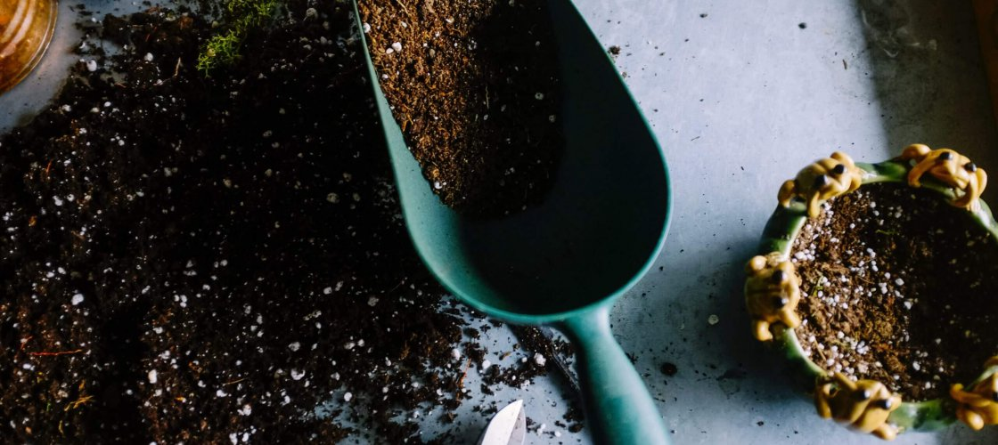 a garden shovel with mud in it